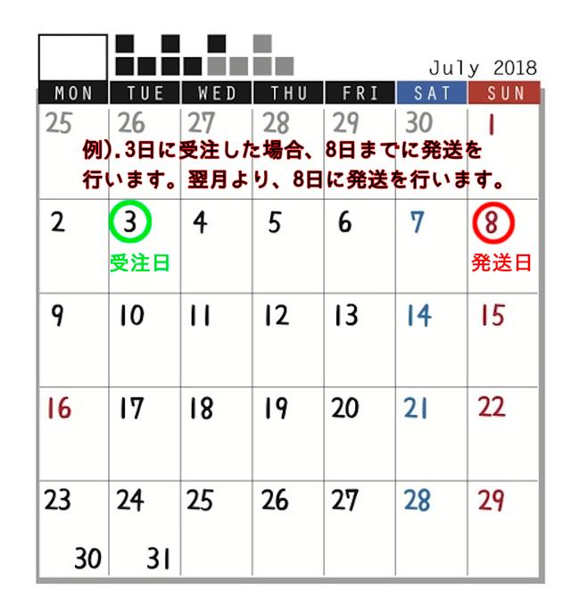 初回:受注後5日以内に発送 2回目:初回発送日の1ヶ月後に発送(以降1ヶ月毎に発送)