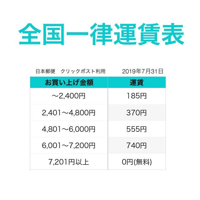 本運賃表の料金は、クリックポストにて発送した際のものです。 ギフト商品等のご注文による宅配便ご利用の際は、別途運賃となります。